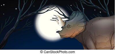 triceratops, 月, フルである, 夜