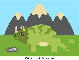 Triceratops and Wild Nature Vector Illustration