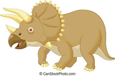 Triceratops cartoon - Vector illustration of Triceratops...