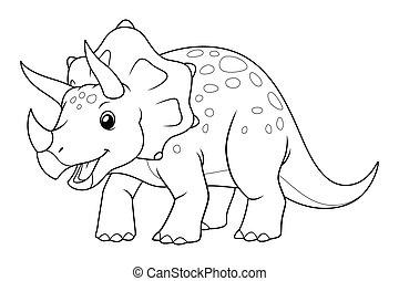 Triceratops Cartoon Illustration BW