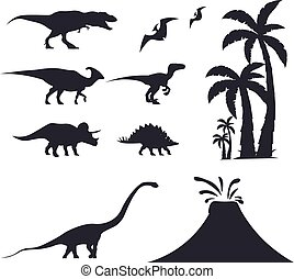 triceratops., conjunto, velociraptor, jurásico, period., ...