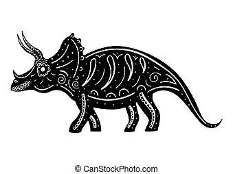 triceratops, dekoriert, silhouette, patterns., stilisiert