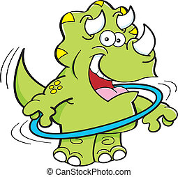 triceratops, dessin animé, jouer