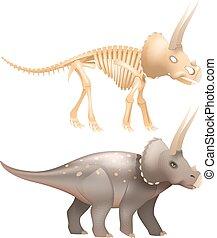 Triceratops dinosaur art with skeleton