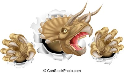 Triceratops Dinosaur Claws Tearing - Triceratops dinosaur...