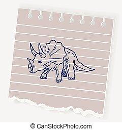 Triceratops dinosaur doodle