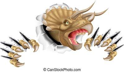 triceratops, dinossauro, quebrando