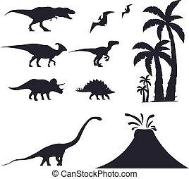 triceratops., ensemble, velociraptor, jurassique, period., dinosaurs., cretaceous, préhistorique, t-rex, mondiale, stegosaurus, world., diplodocus, parasaurolophus