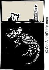 Triceratops Fossil Fuel Exploration - Woodcut style image of...