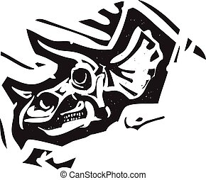 Triceratops Fossil Skull - Woodcut style image of a fossil...