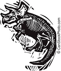 Triceratops Fossil - Woodcut style image of a fossil of a ...