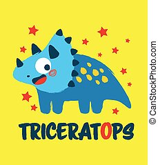 Triceratops Happy Dinosaur - Happy little dinosaur monster ...