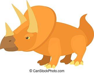 Triceratops icon, cartoon style