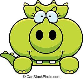 triceratops, sbirciando, cartone animato