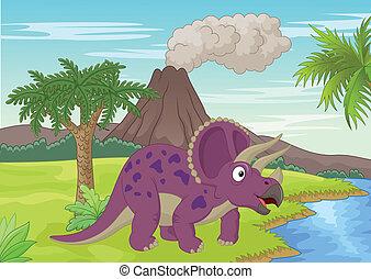 triceratops, scène, préhistorique