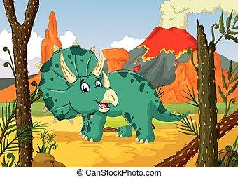 Triceratops, selva, caricatura