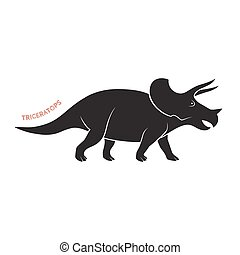 Triceratops silhouette icon emblem on white backgound. Vector illustration.