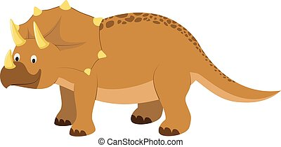 Triceratops vector illustration in cartoon style for kids. Dinosaurs Collection.