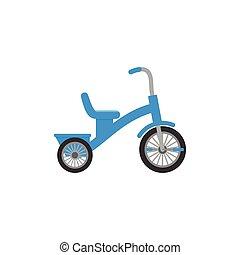 triciclo, brinquedo bebê, em, apartamento, design., vetorial, caricatura, illustration.