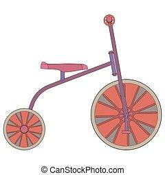 tricikli, vektor, bicikli, bicikli, ikon, elszigetelt, játékszer, piros, lovagol, gördít, szállítás, gyerekek, ábra, gyermek