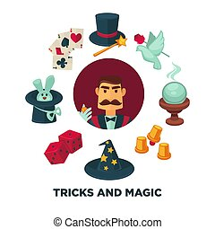 Trick and magic promotional poster with magician and equipment