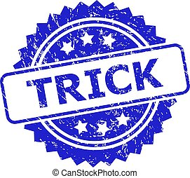 TRICK Blue Rosette Stamp Seal with Distress Surface