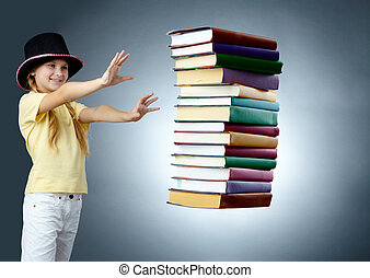 Trick - Image of schoolgirl in hat making trick with...