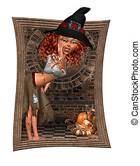 Trick of Track Halloween Witch - a little witch called out...