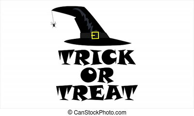 Trick or Treat and Witch Hat, art video illustration.