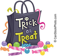 Trick or Treat Bag - Illustration Featuring a Trick or Treat...