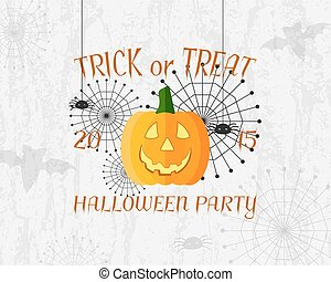 Trick or Treat banner. Happy Halloween Poster. With spider,...