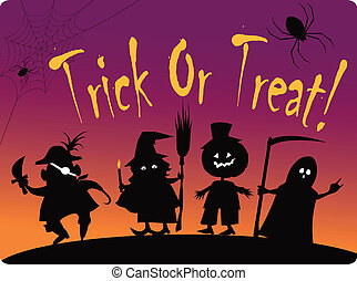 Card with silhouettes of four cute Halloween costumed characters: Pirate, Witch, Great Pumpkin and Grim Reaper