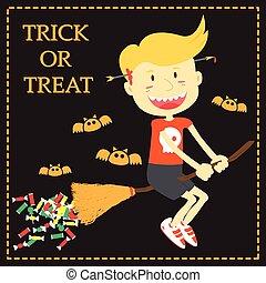 Trick or Treat Cartoon Illustration