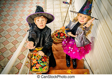 trick or treat children - Happy children in a costumes of ...