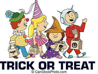 Children walking asking for candy