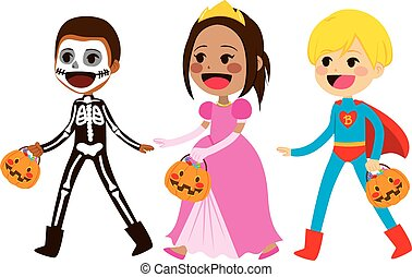 Cute little children in costumes walking for trick or treat candies on Halloween
