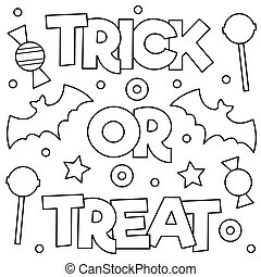 Trick or treat. Coloring page. Vector illustration. - Trick...