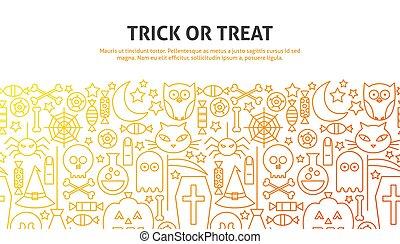 Trick or Treat Concept. Vector Illustration of Line Website ...