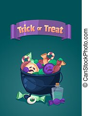 Trick or treat. Halloween banner. Cartoon illustration with magic cauldron and sweets.