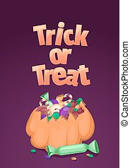 Trick or treat. Halloween banner. Cartoon illustration with pumpkin, colorful sweets and candies.