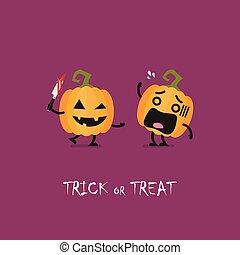 Trick or Treat. Halloween funny pumpkin characters