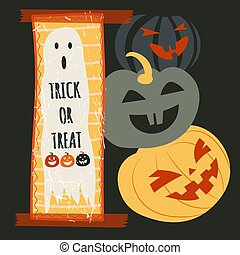 Trick or treat Halloween holidays, ghost and pumpkins - ...