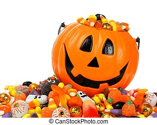 Trick or Treat - Halloween Jack o Lantern pail overflowing ...