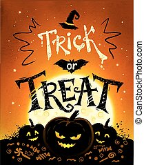 Trick or Treat Halloween poster with pumpkins, full moon and...