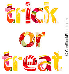 Trick Or Treat Halloween Words Abstract Isolated