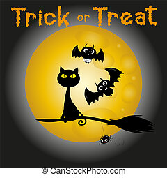 Trick or treat halloween text, with cute bats and flying broom on cat, and little spider, on moonlight backgound