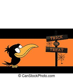 Trick or treat - Halloween vector illustration with a crow