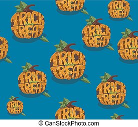 Trick or treat. Halloween vector seamless background.