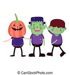 trick or treat - happy halloween - boys pumpkin monster and ...