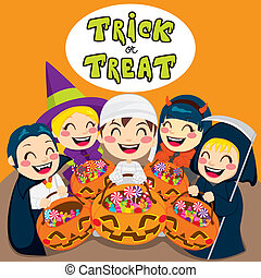 Trick Or Treat Kids - Five kids saying trick or treat with...